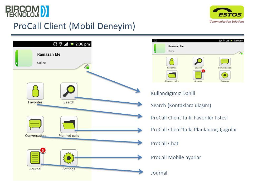 ProCall Client (Mobil Deneyim) Kullandığımız Dahili ProCall Chat ProCall Client'ta ki Favoriler listesi Search (Kontaklara ulaşım) ProCall Client'ta k