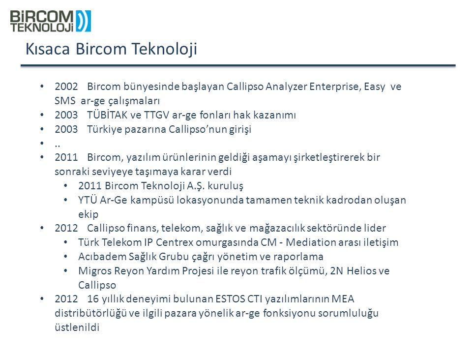 Kısaca Bircom Teknoloji 2002Bircom bünyesinde başlayan Callipso Analyzer Enterprise, Easy ve SMS ar-ge çalışmaları 2003 TÜBİTAK ve TTGV ar-ge fonları