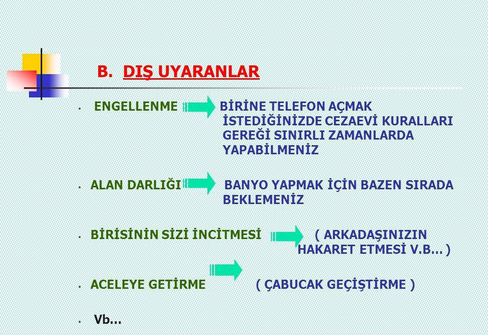 B. DIŞ UYARANLAR ENGELLENME BİRİNE TELEFON AÇMAK İSTEDİĞİNİZDE CEZAEVİ KURALLARI GEREĞİ SINIRLI ZAMANLARDA YAPABİLMENİZ ALAN DARLIĞI BANYO YAPMAK İÇİN