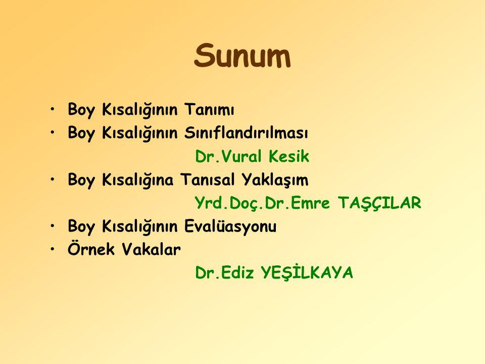 Sunum Boy Kısalığının Tanımı Boy Kısalığının Sınıflandırılması Dr.Vural Kesik Boy Kısalığına Tanısal Yaklaşım Yrd.Doç.Dr.Emre TAŞÇILAR Boy Kısalığının