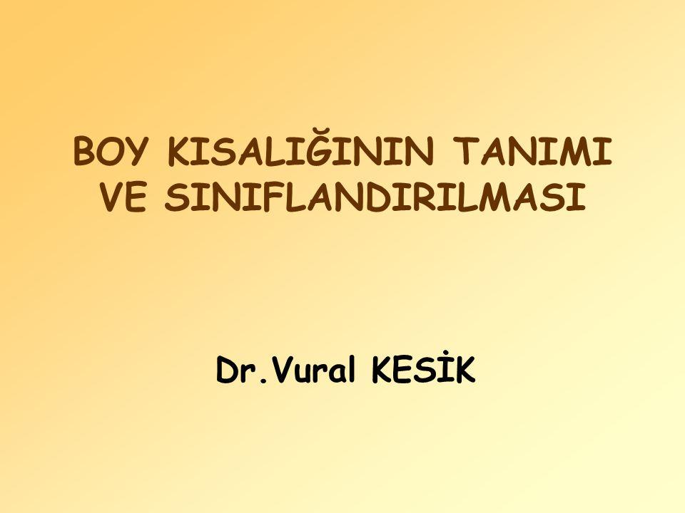 BOY KISALIĞININ TANIMI VE SINIFLANDIRILMASI Dr.Vural KESİK