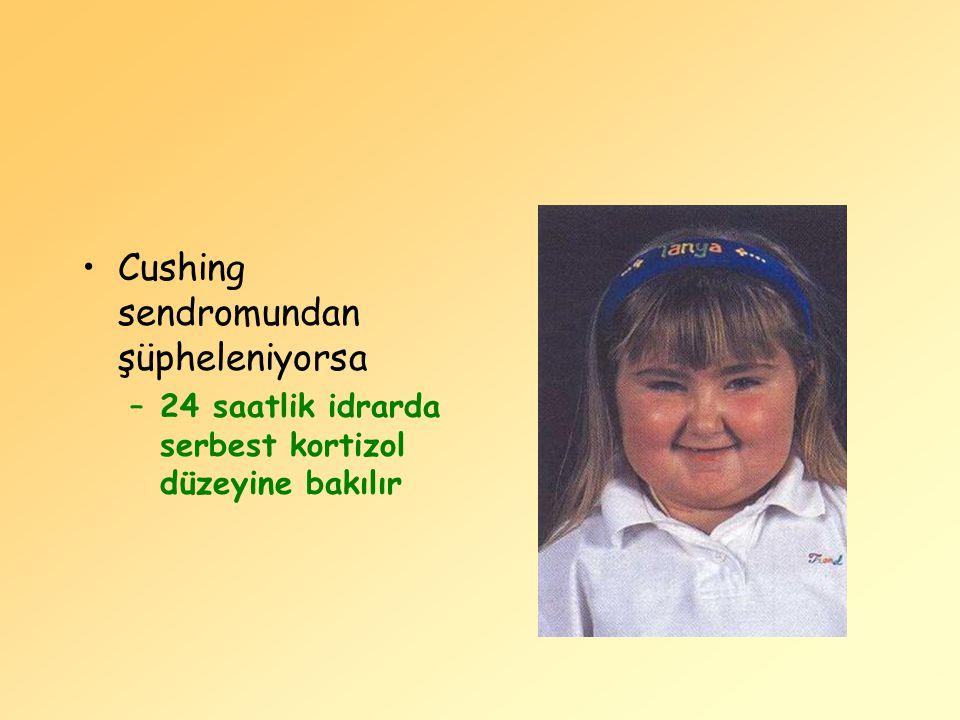 Cushing sendromundan şüpheleniyorsa –24 saatlik idrarda serbest kortizol düzeyine bakılır