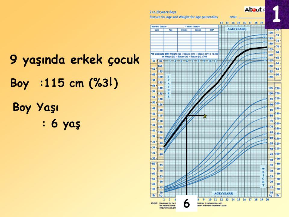 9 yaşında erkek çocuk Boy Yaşı : 6 yaş Boy:115 cm (%3 ) 1 6