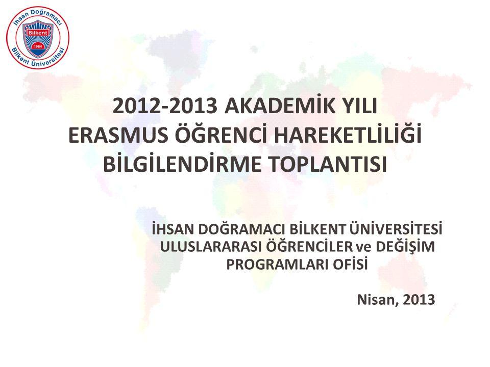 2012-2013 AKADEMİK YILI ERASMUS ÖĞRENCİ HAREKETLİLİĞİ BİLGİLENDİRME TOPLANTISI İHSAN DOĞRAMACI BİLKENT ÜNİVERSİTESİ ULUSLARARASI ÖĞRENCİLER ve DEĞİŞİM PROGRAMLARI OFİSİ Nisan, 2013