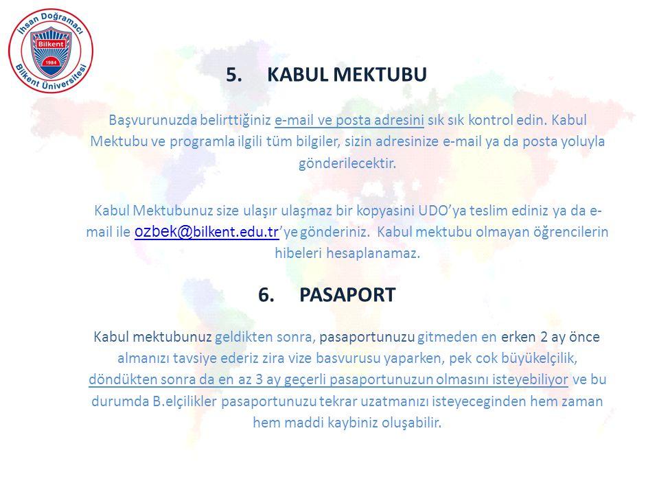 5.KABUL MEKTUBU Başvurunuzda belirttiğiniz e-mail ve posta adresini sık sık kontrol edin.