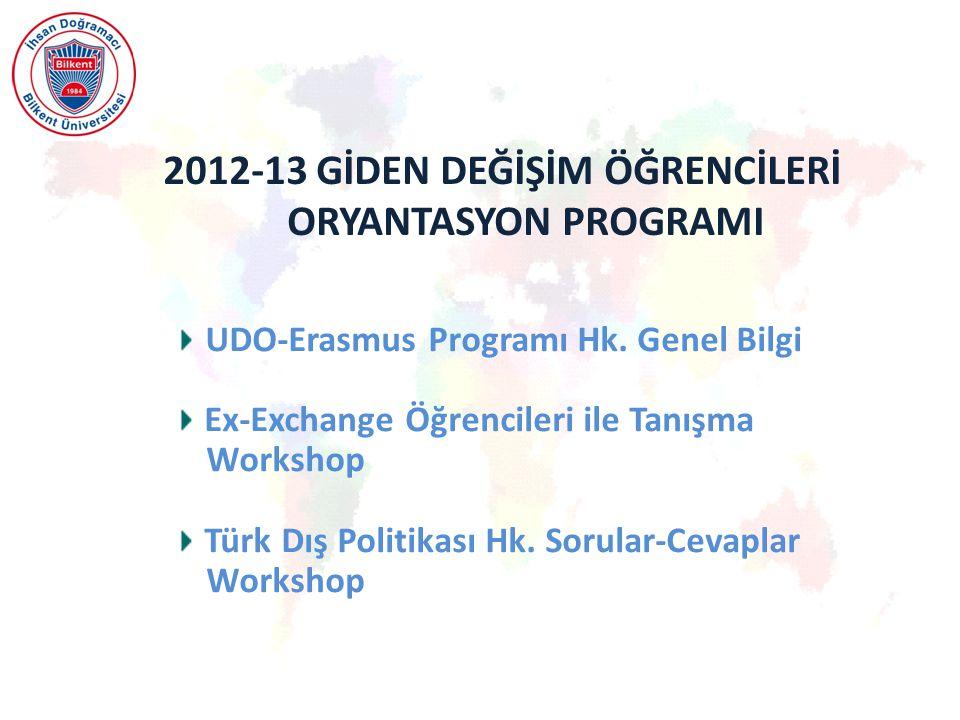 2012-13 GİDEN DEĞİŞİM ÖĞRENCİLERİ ORYANTASYON PROGRAMI UDO-Erasmus Programı Hk.