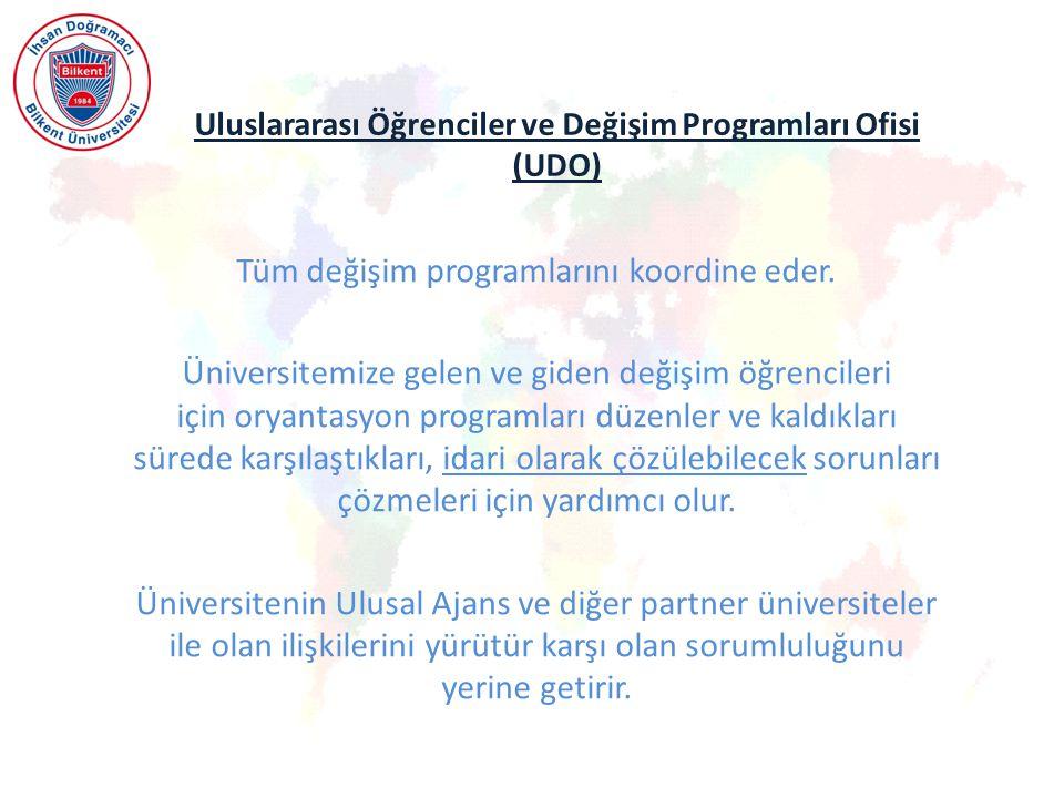 Uluslararası Öğrenciler ve Değişim Programları Ofisi (UDO) Tüm değişim programlarını koordine eder.