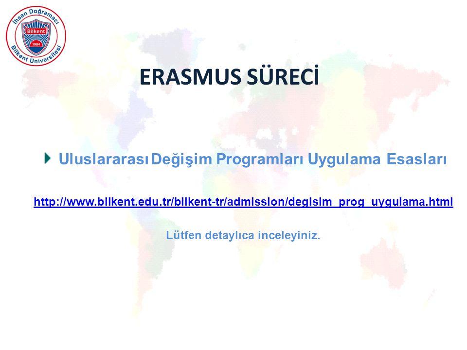 ERASMUS SÜRECİ Uluslararası Değişim Programları Uygulama Esasları http://www.bilkent.edu.tr/bilkent-tr/admission/degisim_prog_uygulama.html Lütfen detaylıca inceleyiniz.