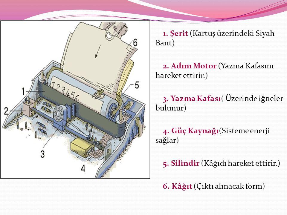 1. Şerit (Kartuş üzerindeki Siyah Bant) 2. Adım Motor (Yazma Kafasını hareket ettirir.) 3. Yazma Kafası( Üzerinde iğneler bulunur) 4. Güç Kaynağı(Sist