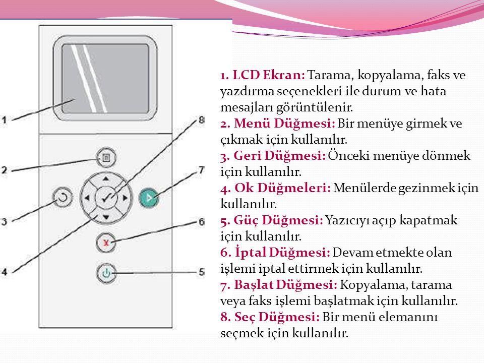 1. LCD Ekran: Tarama, kopyalama, faks ve yazdırma seçenekleri ile durum ve hata mesajları görüntülenir. 2. Menü Düğmesi: Bir menüye girmek ve çıkmak i