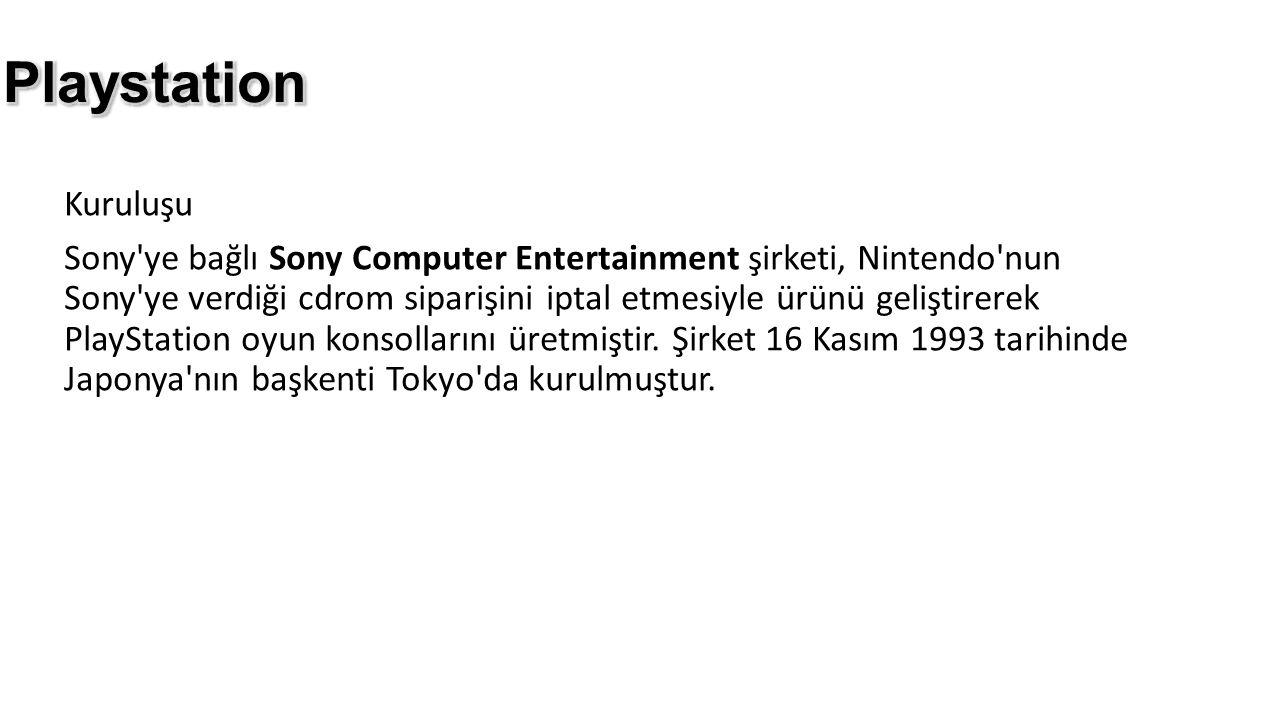 Kuruluşu Sony'ye bağlı Sony Computer Entertainment şirketi, Nintendo'nun Sony'ye verdiği cdrom siparişini iptal etmesiyle ürünü geliştirerek PlayStati