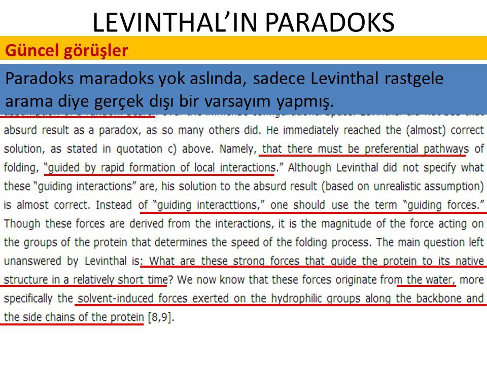 LEVINTHAL'IN PARADOKS Güncel görüşler Paradoks maradoks yok aslında, sadece Levinthal rastgele arama diye gerçek dışı bir varsayım yapmış.