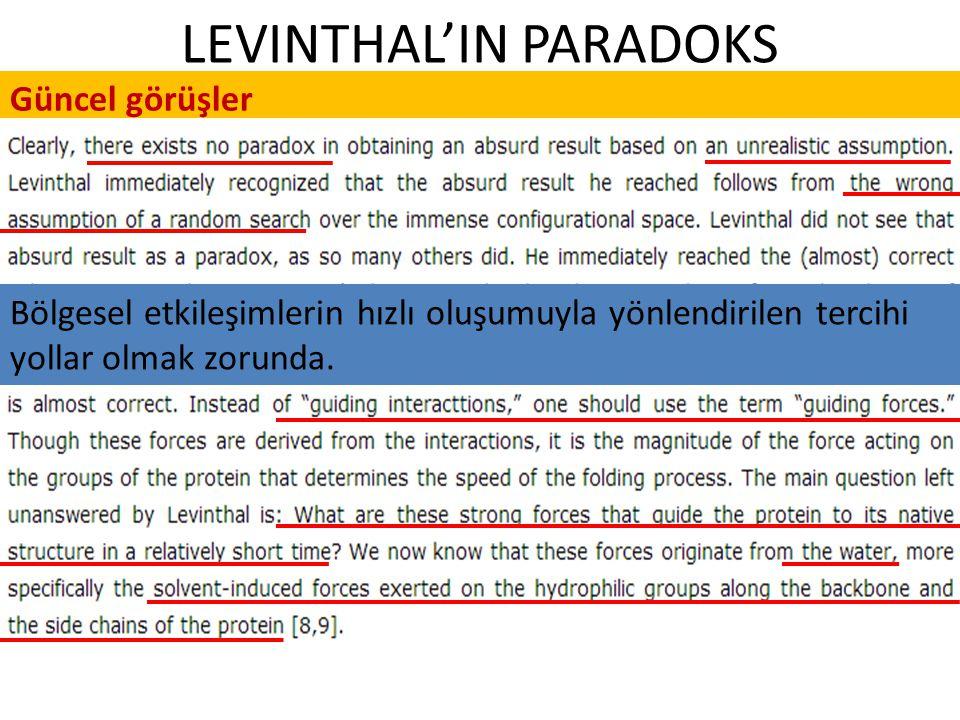 LEVINTHAL'IN PARADOKS Güncel görüşler Bölgesel etkileşimlerin hızlı oluşumuyla yönlendirilen tercihi yollar olmak zorunda.