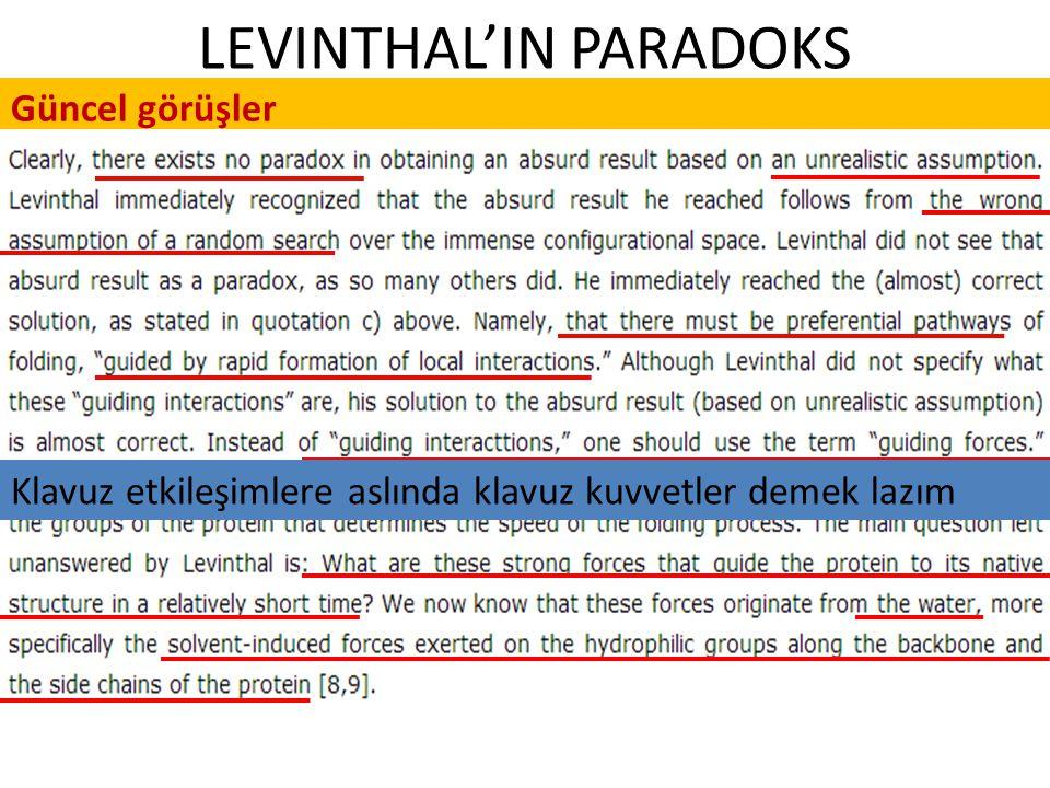 LEVINTHAL'IN PARADOKS Güncel görüşler Klavuz etkileşimlere aslında klavuz kuvvetler demek lazım