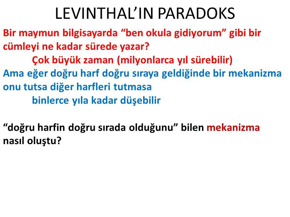 LEVINTHAL'IN PARADOKS Güncel görüşler Tekrar incelendi ve reddedildi