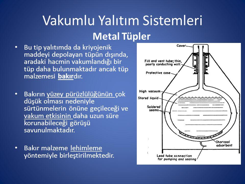 Vakumlu Yalıtım Sistemleri Metal Tüpler Bu tip yalıtımda da kriyojenik maddeyi depolayan tüpün dışında, aradaki hacmin vakumlandığı bir tüp daha bulun