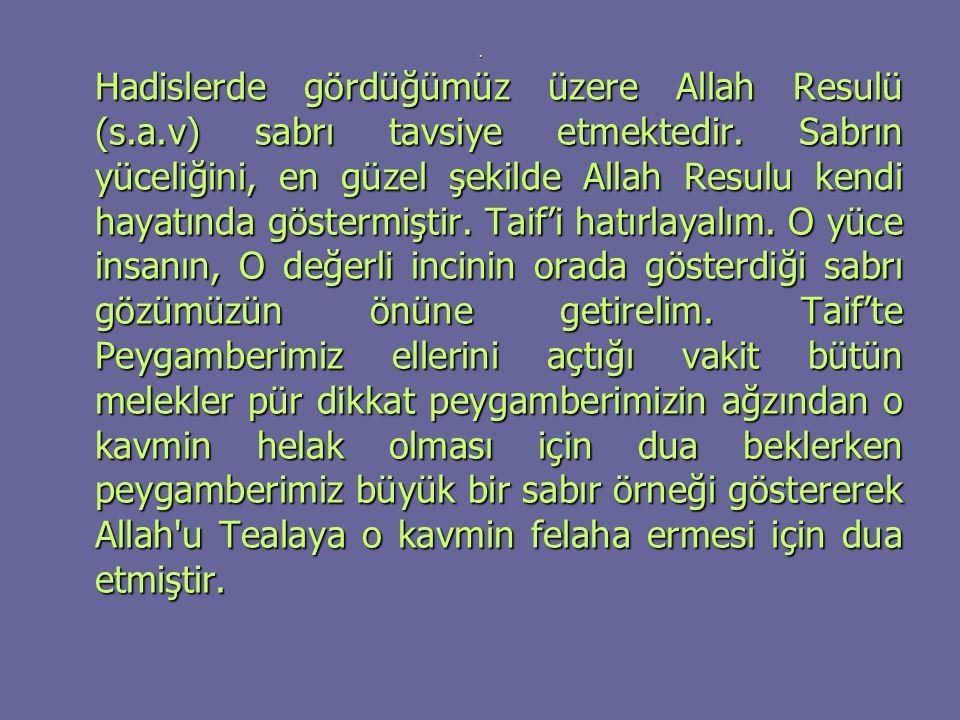 . Hadislerde gördüğümüz üzere Allah Resulü (s.a.v) sabrı tavsiye etmektedir. Sabrın yüceliğini, en güzel şekilde Allah Resulu kendi hayatında göstermi