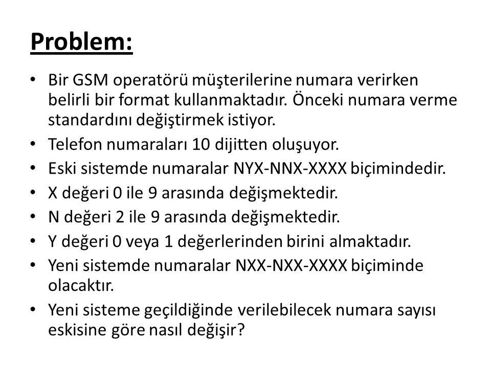 Bir GSM operatörü müşterilerine numara verirken belirli bir format kullanmaktadır.