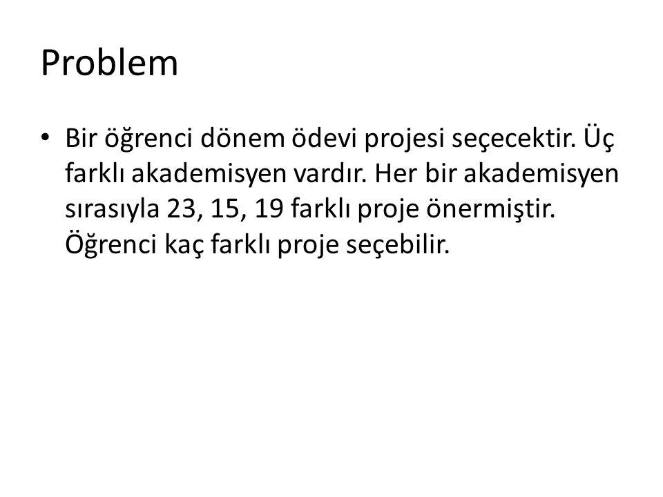 Problem Bir öğrenci dönem ödevi projesi seçecektir.