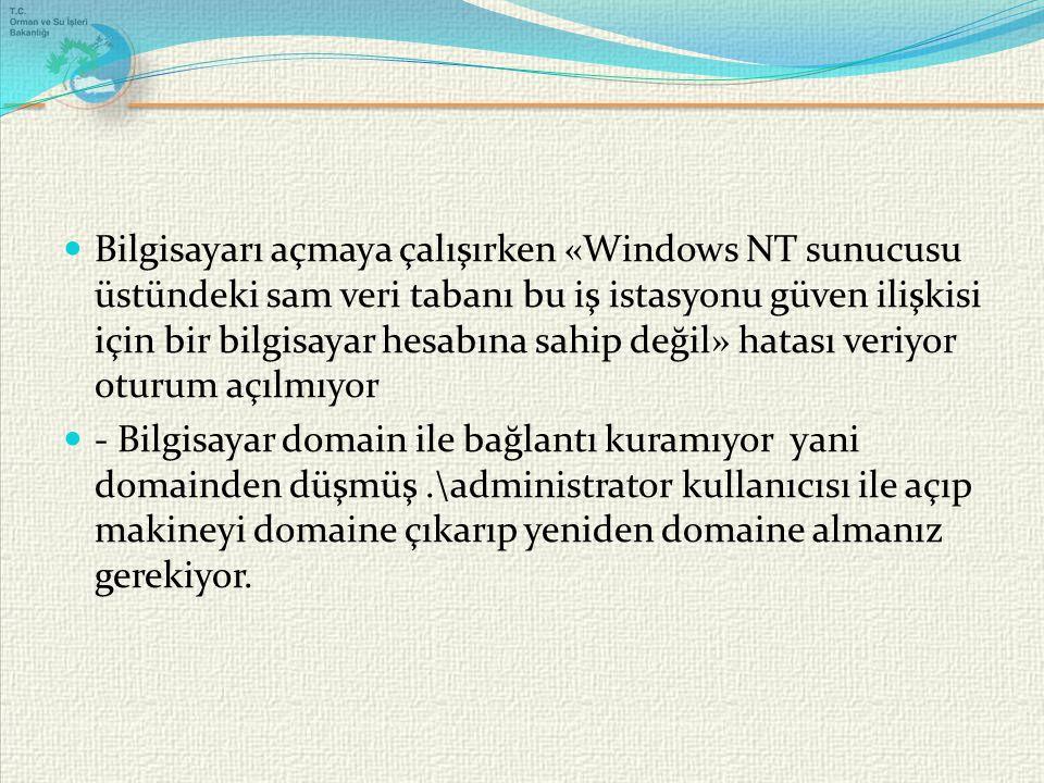 Bilgisayarı açmaya çalışırken «Windows NT sunucusu üstündeki sam veri tabanı bu iş istasyonu güven ilişkisi için bir bilgisayar hesabına sahip değil» hatası veriyor oturum açılmıyor - Bilgisayar domain ile bağlantı kuramıyor yani domainden düşmüş.\administrator kullanıcısı ile açıp makineyi domaine çıkarıp yeniden domaine almanız gerekiyor.