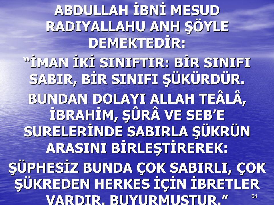 """54 ABDULLAH İBNİ MESUD RADIYALLAHU ANH ŞÖYLE DEMEKTEDİR: """"İMAN İKİ SINIFTIR: BİR SINIFI SABIR, BİR SINIFI ŞÜKÜRDÜR. BUNDAN DOLAYI ALLAH TEÂLÂ, İBRAHİM"""