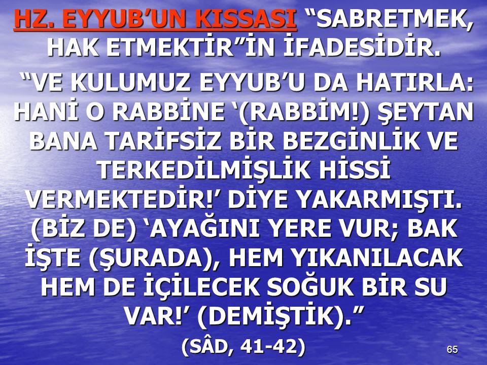 """65 HZ. EYYUB'UN KISSASI """"SABRETMEK, HAK ETMEKTİR""""İN İFADESİDİR. """"VE KULUMUZ EYYUB'U DA HATIRLA: HANİ O RABBİNE '(RABBİM!) ŞEYTAN BANA TARİFSİZ BİR BEZ"""