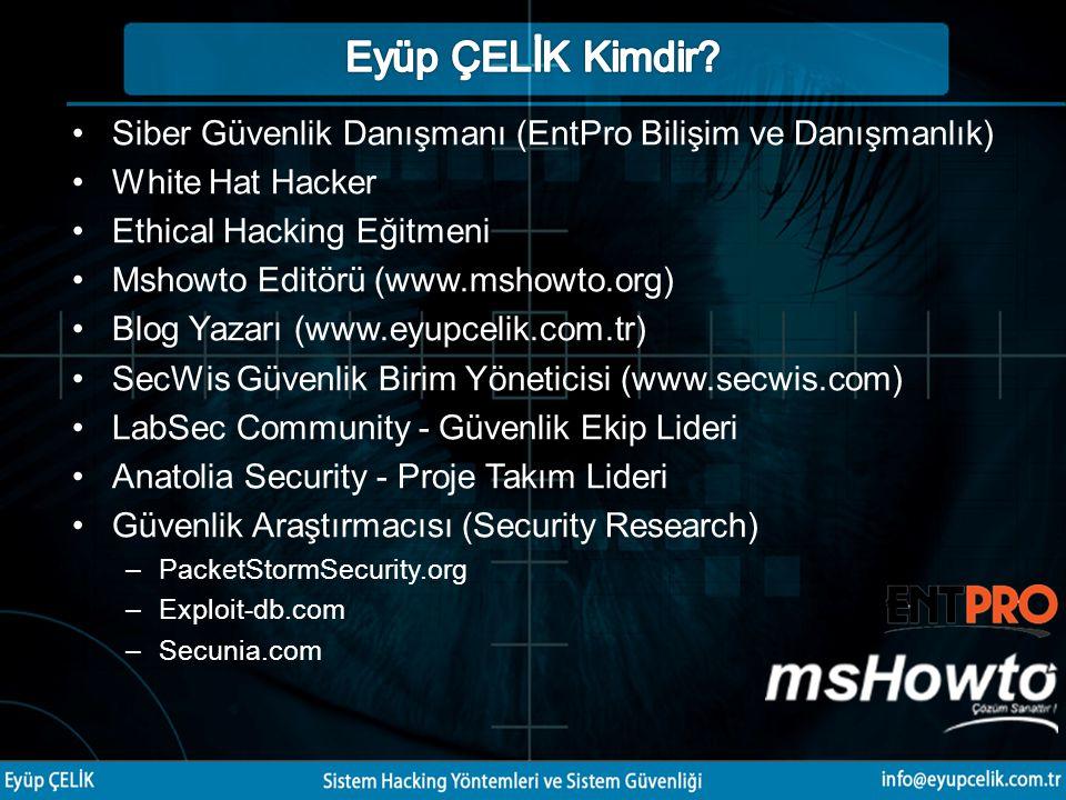 Siber Güvenlik Danışmanı (EntPro Bilişim ve Danışmanlık) White Hat Hacker Ethical Hacking Eğitmeni Mshowto Editörü (www.mshowto.org) Blog Yazarı (www.eyupcelik.com.tr) SecWis Güvenlik Birim Yöneticisi (www.secwis.com) LabSec Community - Güvenlik Ekip Lideri Anatolia Security - Proje Takım Lideri Güvenlik Araştırmacısı (Security Research) –PacketStormSecurity.org –Exploit-db.com –Secunia.com