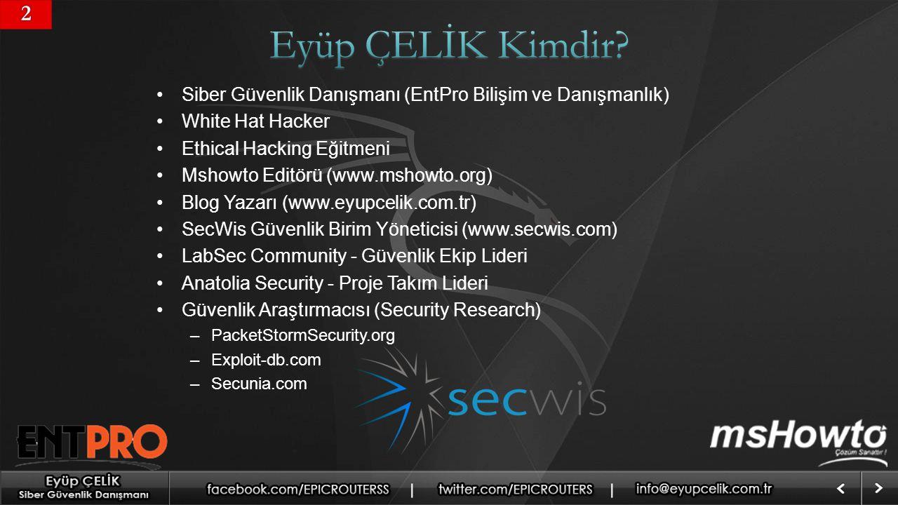 22 Siber Güvenlik Danışmanı (EntPro Bilişim ve Danışmanlık) White Hat Hacker Ethical Hacking Eğitmeni Mshowto Editörü (www.mshowto.org) Blog Yazarı (www.eyupcelik.com.tr) SecWis Güvenlik Birim Yöneticisi (www.secwis.com) LabSec Community - Güvenlik Ekip Lideri Anatolia Security - Proje Takım Lideri Güvenlik Araştırmacısı (Security Research) –PacketStormSecurity.org –Exploit-db.com –Secunia.com