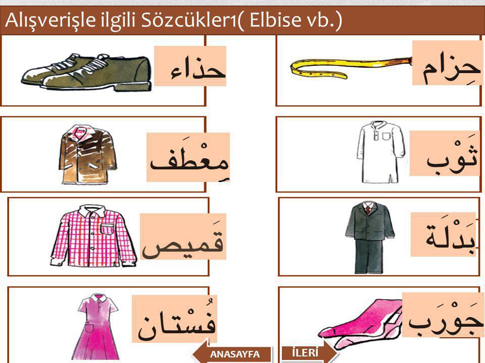 Alışverişle ilgili Sözcükler1( Elbise vb.) İLERİ ANASAYFA