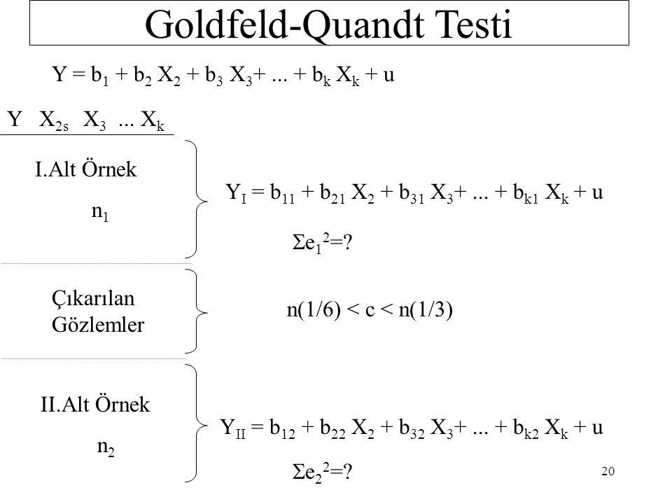 Büyük örneklere uygulanan bir F testidir.