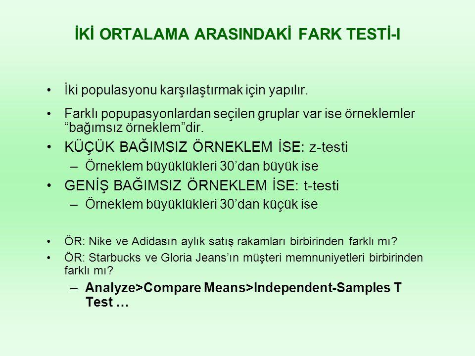İKİ ORTALAMA ARASINDAKİ FARK TESTİ-I İki populasyonu karşılaştırmak için yapılır.