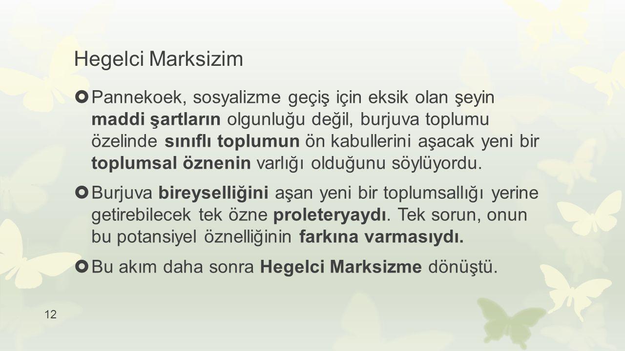 12 Hegelci Marksizim  Pannekoek, sosyalizme geçiş için eksik olan şeyin maddi şartların olgunluğu değil, burjuva toplumu özelinde sınıflı toplumun ön