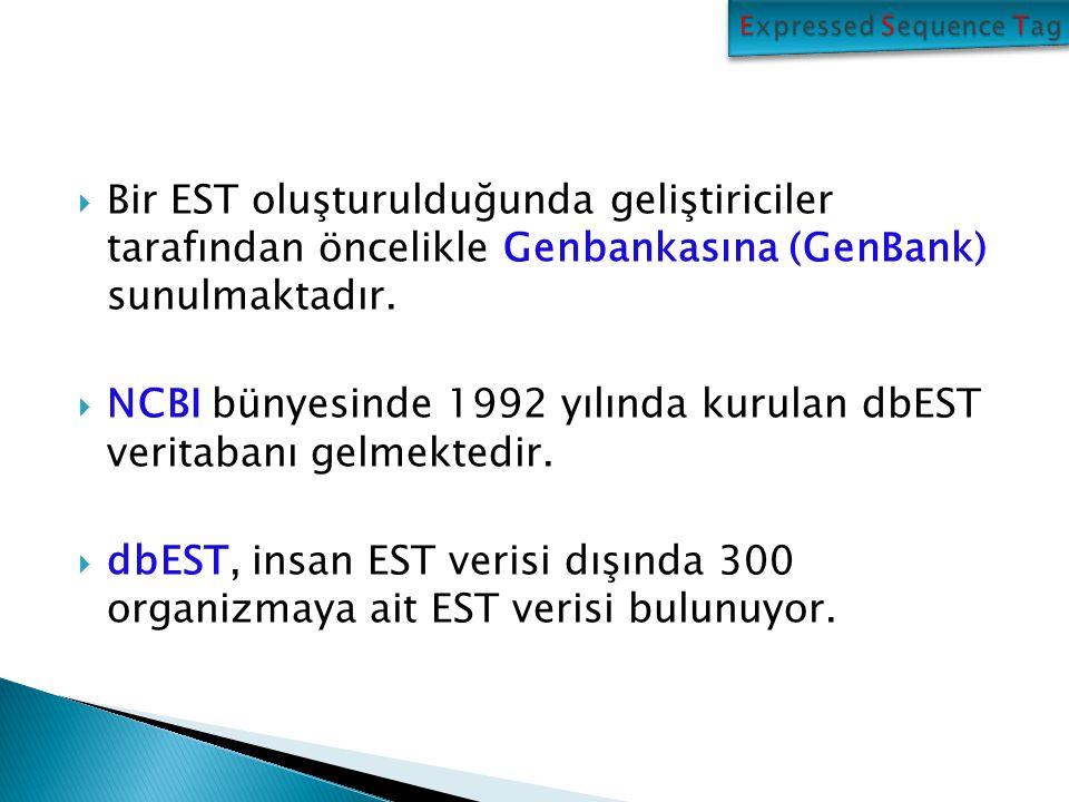  Bir EST oluşturulduğunda geliştiriciler tarafından öncelikle Genbankasına (GenBank) sunulmaktadır.  NCBI bünyesinde 1992 yılında kurulan dbEST veri