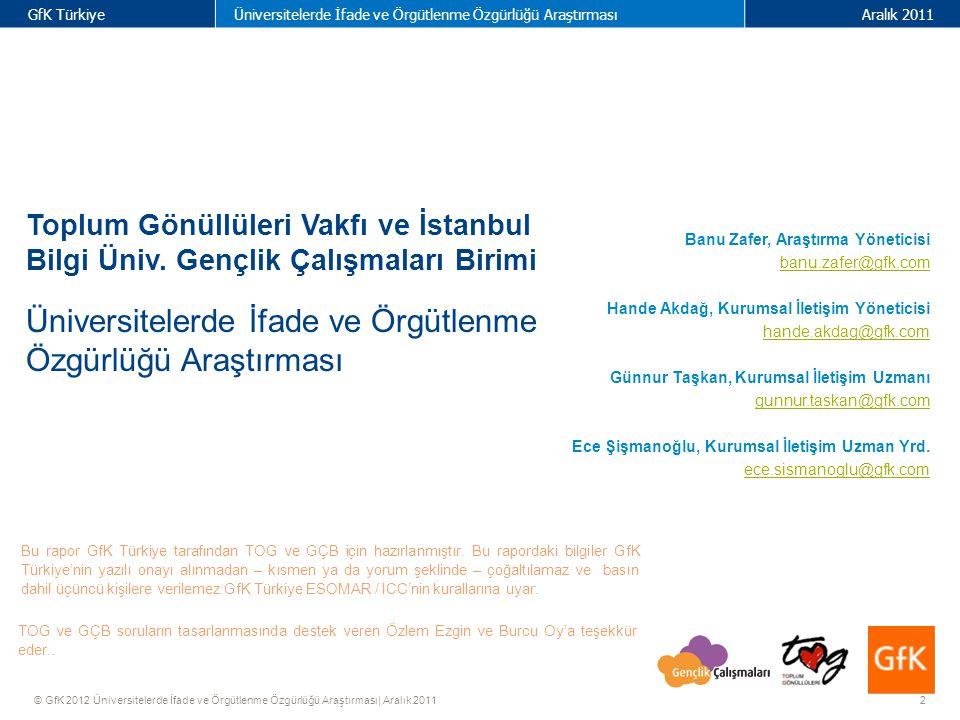 23 GfK TürkiyeÜniversitelerde İfade ve Örgütlenme Özgürlüğü AraştırmasıAralık 2011 © GfK 2012 Üniversitelerde İfade ve Örgütlenme Özgürlüğü Araştırması| Aralık 2011 3.3 Topluluk / Kulüpler