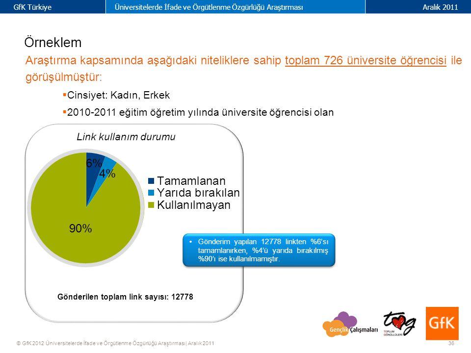 36 GfK TürkiyeÜniversitelerde İfade ve Örgütlenme Özgürlüğü AraştırmasıAralık 2011 © GfK 2012 Üniversitelerde İfade ve Örgütlenme Özgürlüğü Araştırması| Aralık 2011 Örneklem Araştırma kapsamında aşağıdaki niteliklere sahip toplam 726 üniversite öğrencisi ile görüşülmüştür:  Cinsiyet: Kadın, Erkek  2010-2011 eğitim öğretim yılında üniversite öğrencisi olan Gönderilen toplam link sayısı: 12778 Link kullanım durumu Gönderim yapılan 12778 linkten %6'sı tamamlanırken, %4'ü yarıda bırakılmış %90'ı ise kullanılmamıştır.