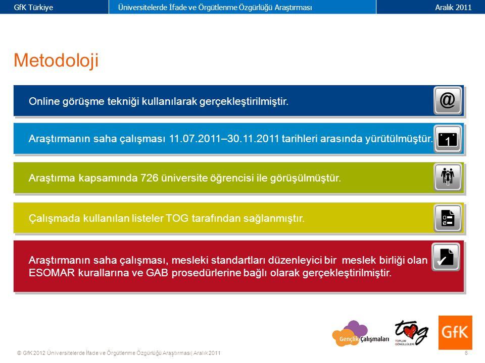 37 GfK TürkiyeÜniversitelerde İfade ve Örgütlenme Özgürlüğü AraştırmasıAralık 2011 © GfK 2012 Üniversitelerde İfade ve Örgütlenme Özgürlüğü Araştırması| Aralık 2011 Tüm görüşülenler Araştırma kapsamında görüşülen 726 kişinin tümünü ifade eder.