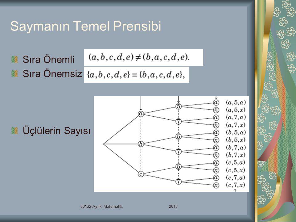 Saymanın Temel Prensibi Sıra Önemli Sıra Önemsiz Üçlülerin Sayısı 00132-Ayrık Matematik, 2013
