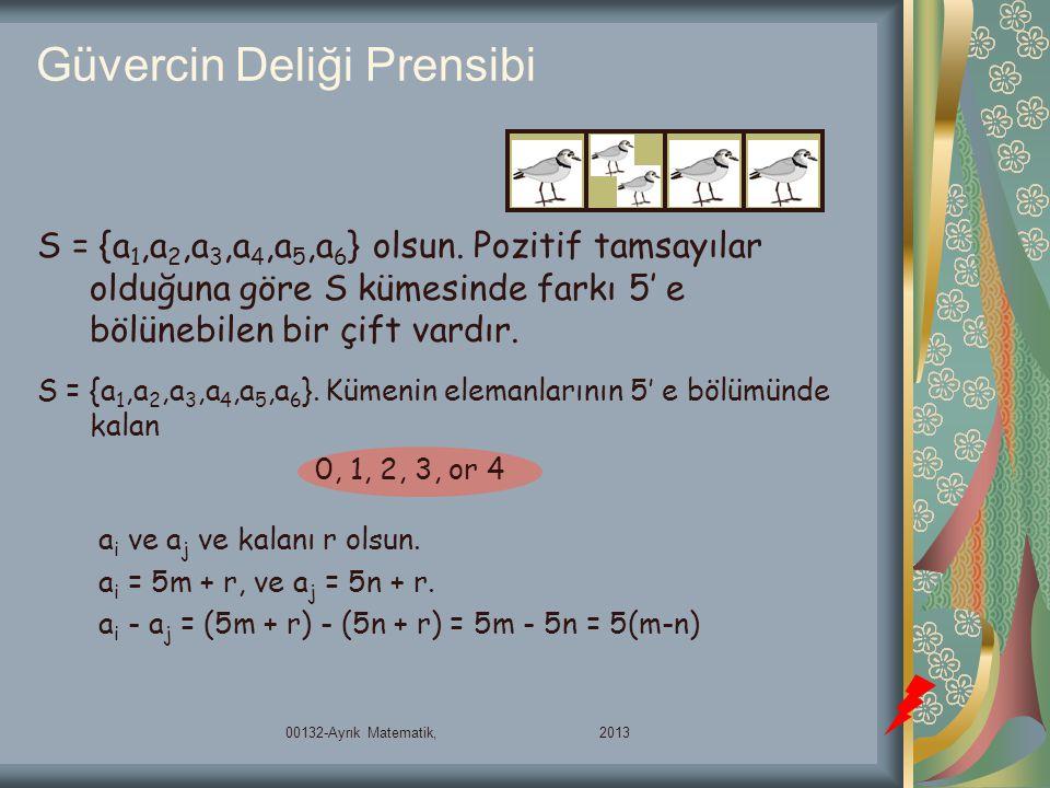 Güvercin Deliği Prensibi S = {a 1,a 2,a 3,a 4,a 5,a 6 } olsun. Pozitif tamsayılar olduğuna göre S kümesinde farkı 5' e bölünebilen bir çift vardır. S