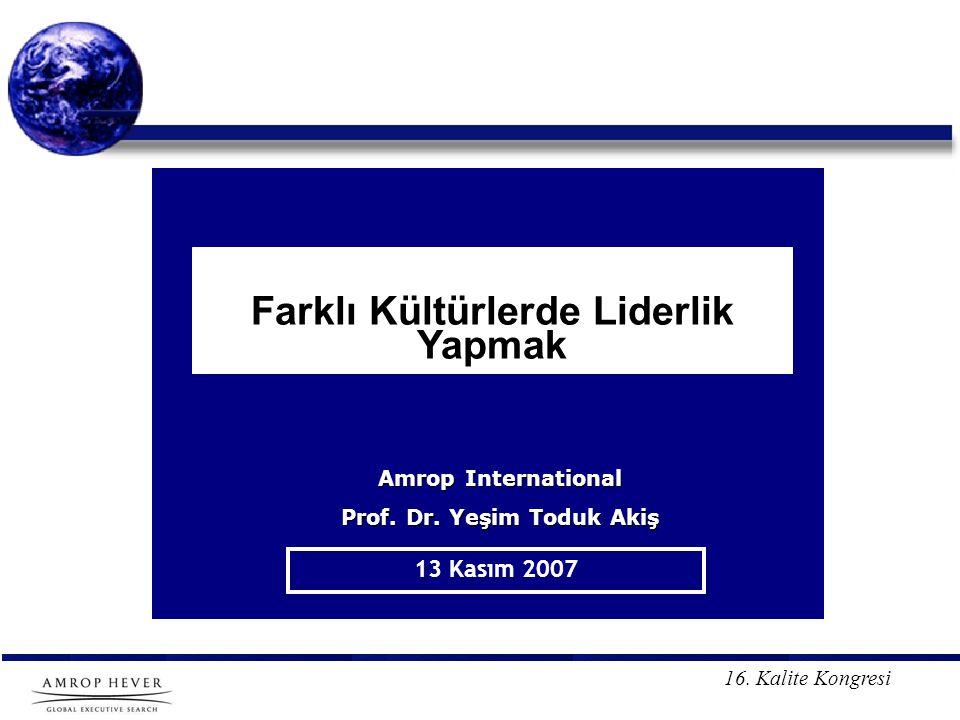 16.Kalite Kongresi Farklı Kültürlerde Liderlik Yapmak 13 Kasım 2007 Amrop International Prof.