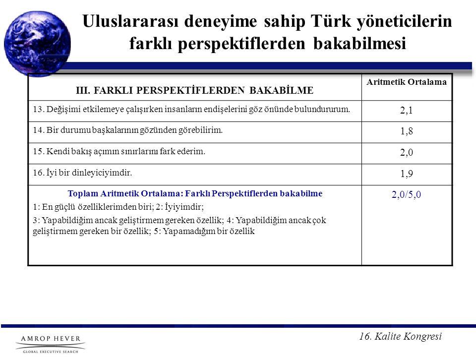 16. Kalite Kongresi Uluslararası deneyime sahip Türk yöneticilerin farklı perspektiflerden bakabilmesi III. FARKLI PERSPEKTİFLERDEN BAKABİLME Aritmeti