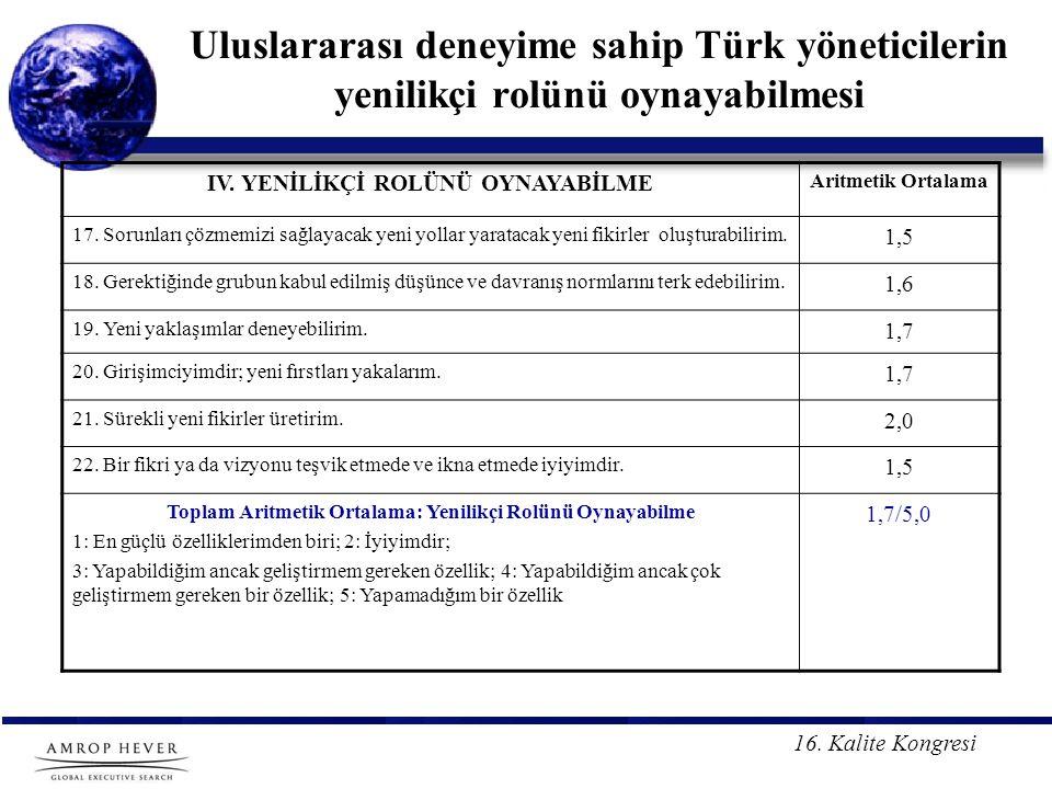 16. Kalite Kongresi Uluslararası deneyime sahip Türk yöneticilerin yenilikçi rolünü oynayabilmesi IV. YENİLİKÇİ ROLÜNÜ OYNAYABİLME Aritmetik Ortalama