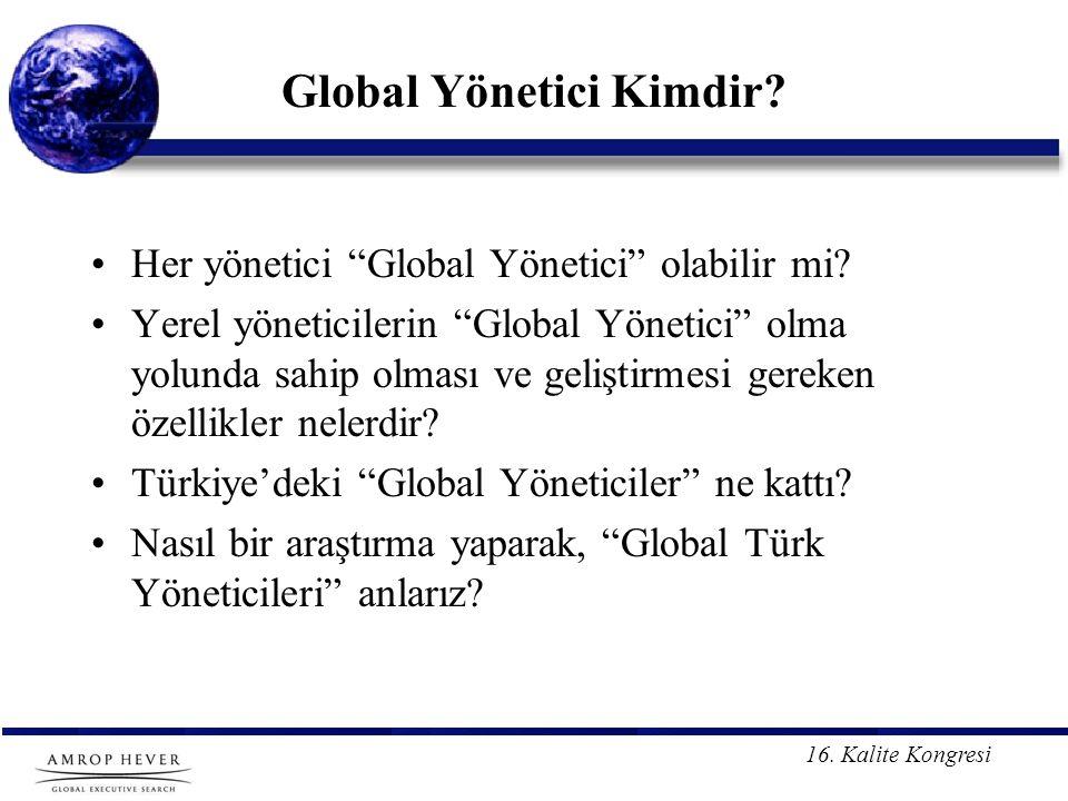 16.Kalite Kongresi Global Yönetici Kimdir. Her yönetici Global Yönetici olabilir mi.
