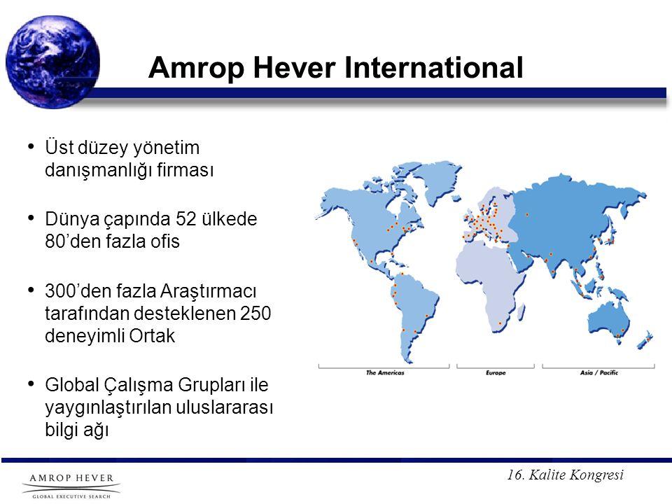 16. Kalite Kongresi Amrop Hever International Üst düzey yönetim danışmanlığı firması Dünya çapında 52 ülkede 80'den fazla ofis 300'den fazla Araştırma