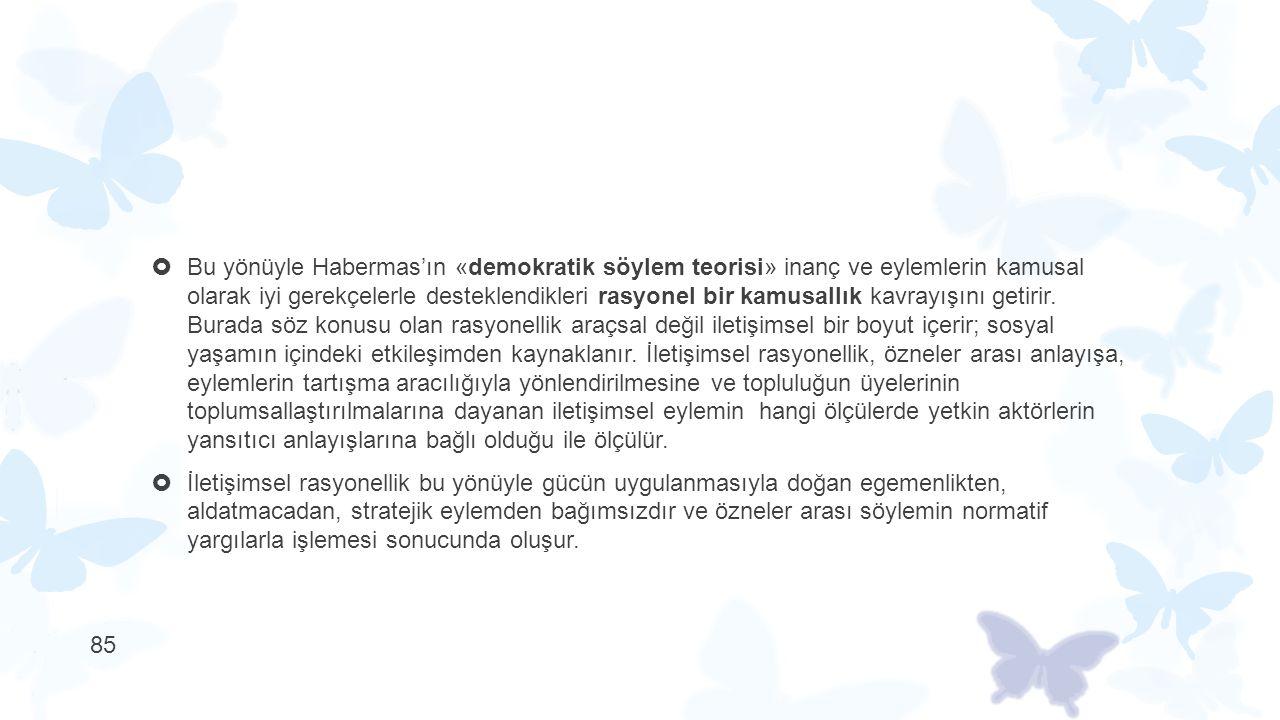  Bu yönüyle Habermas'ın «demokratik söylem teorisi» inanç ve eylemlerin kamusal olarak iyi gerekçelerle desteklendikleri rasyonel bir kamusallık kavr