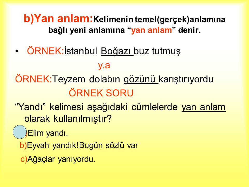 """b)Yan anlam: Kelimenin temel(gerçek)anlamına bağlı yeni anlamına """"yan anlam"""" denir. ÖRNEK:İstanbul Boğazı buz tutmuş y.a ÖRNEK:Teyzem dolabın gözünü k"""