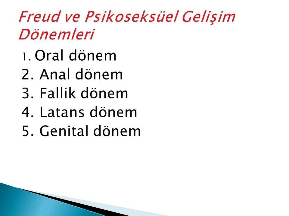 1. Oral dönem 2. Anal dönem 3. Fallik dönem 4. Latans dönem 5. Genital dönem