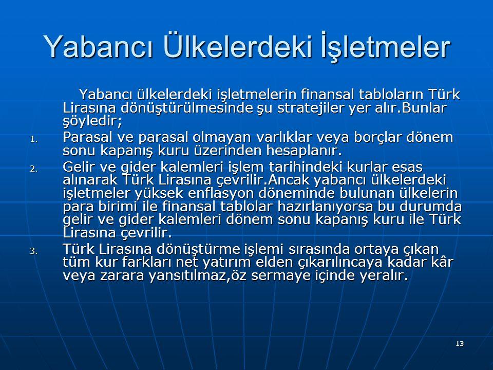 13 Yabancı Ülkelerdeki İşletmeler Yabancı ülkelerdeki işletmelerin finansal tabloların Türk Lirasına dönüştürülmesinde şu stratejiler yer alır.Bunlar