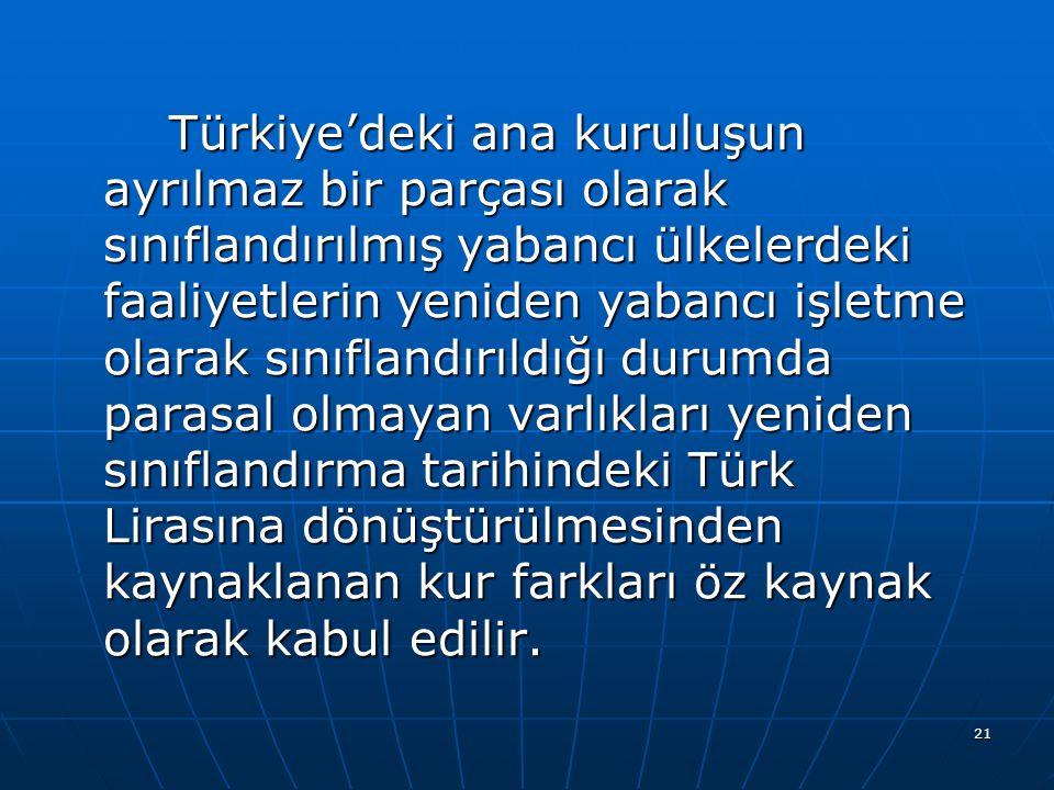 21 Türkiye'deki ana kuruluşun ayrılmaz bir parçası olarak sınıflandırılmış yabancı ülkelerdeki faaliyetlerin yeniden yabancı işletme olarak sınıflandı