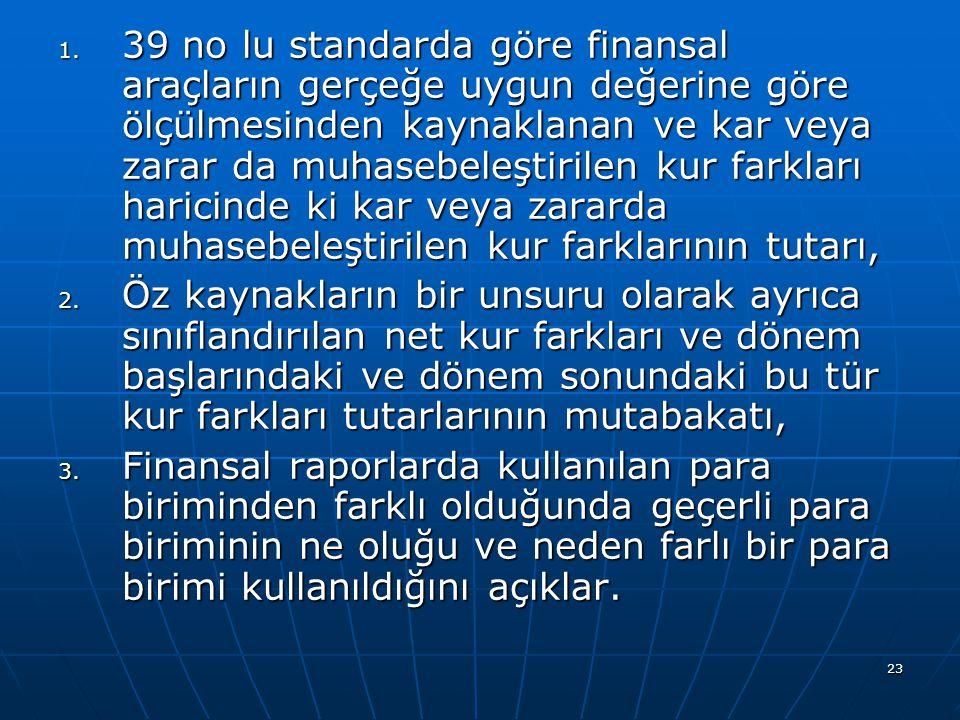 23 1. 39 no lu standarda göre finansal araçların gerçeğe uygun değerine göre ölçülmesinden kaynaklanan ve kar veya zarar da muhasebeleştirilen kur far