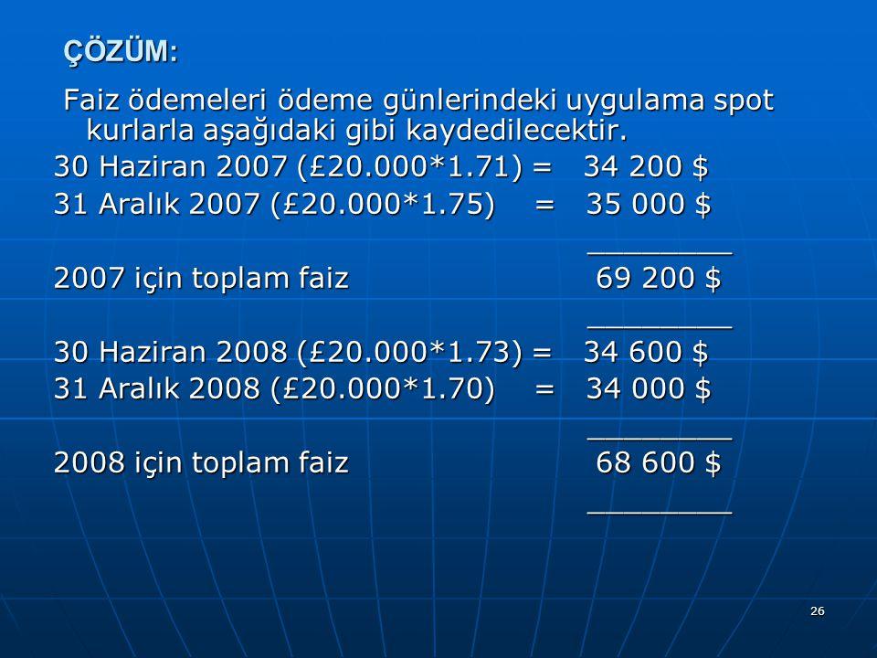 26 ÇÖZÜM: Faiz ödemeleri ödeme günlerindeki uygulama spot kurlarla aşağıdaki gibi kaydedilecektir. Faiz ödemeleri ödeme günlerindeki uygulama spot kur